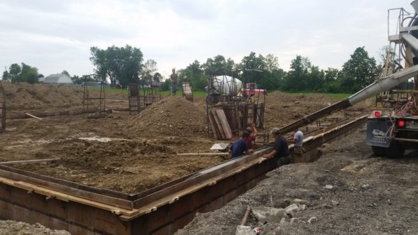 Foundation being installed